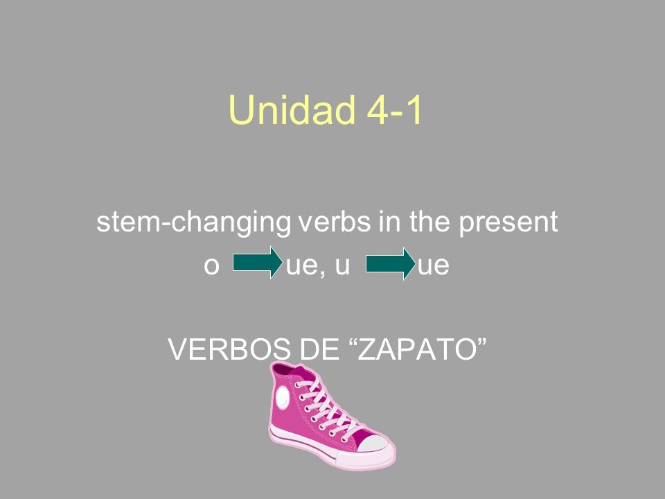 stem-changing verbs in the present o ue, u ue VERBOS DE ZAPATO