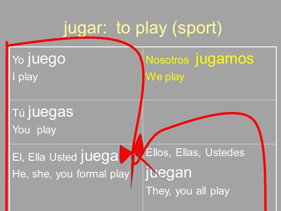 jugar: to play (sport) juegan Yo juego I play Nosotros jugamos We play