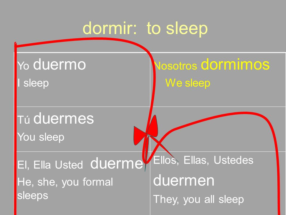 dormir: to sleep duermen Yo duermo I sleep Nosotros dormimos We sleep