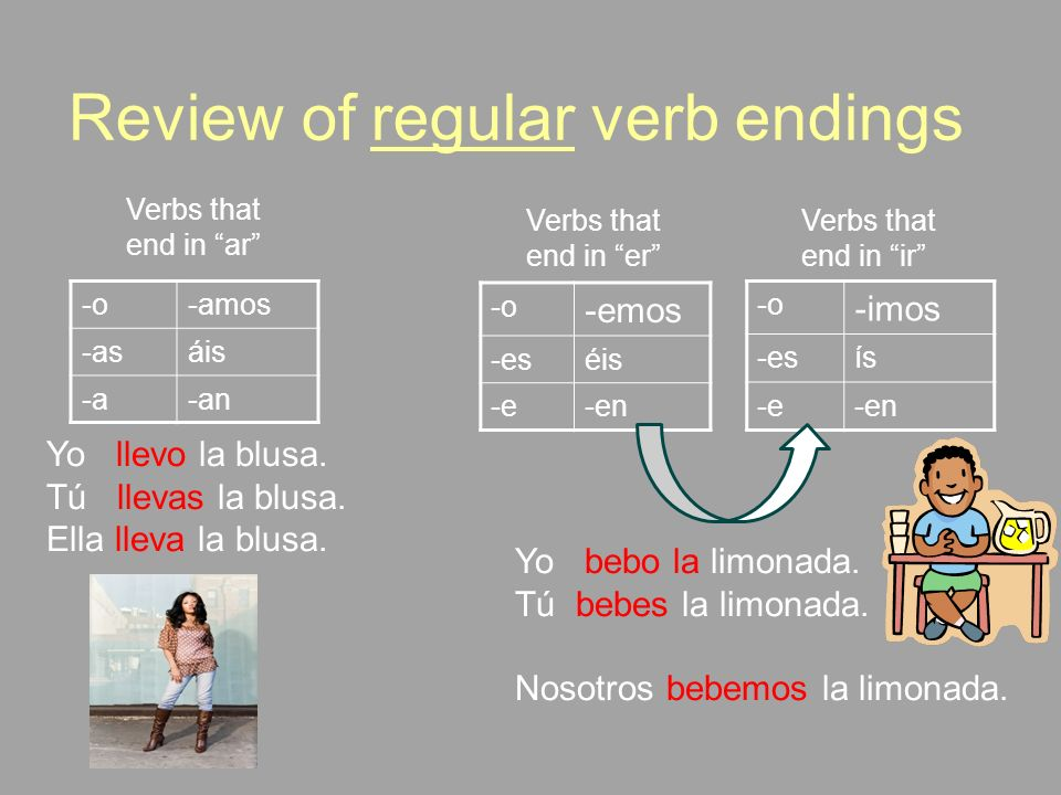 Review of regular verb endings