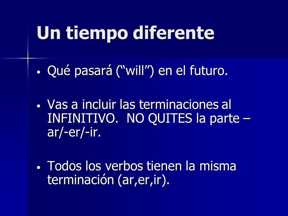 Un tiempo diferente Qué pasará ( will ) en el futuro.