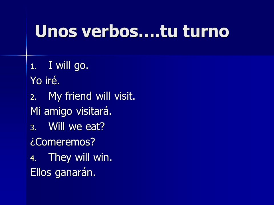 Unos verbos….tu turno I will go. Yo iré. My friend will visit.