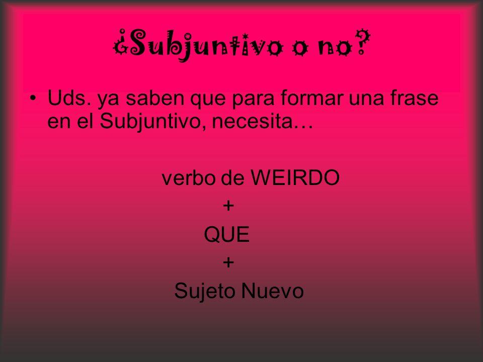 ¿Subjuntivo o no Uds. ya saben que para formar una frase en el Subjuntivo, necesita… verbo de WEIRDO.