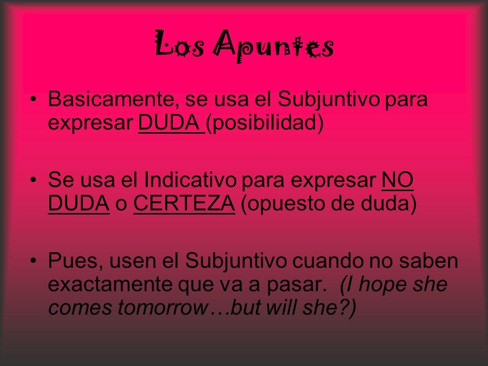 Los ApuntesBasicamente, se usa el Subjuntivo para expresar DUDA (posibilidad) Se usa el Indicativo para expresar NO DUDA o CERTEZA (opuesto de duda)