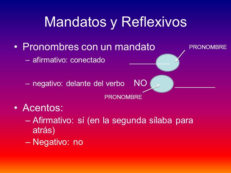 Mandatos y Reflexivos Pronombres con un mandato Acentos: