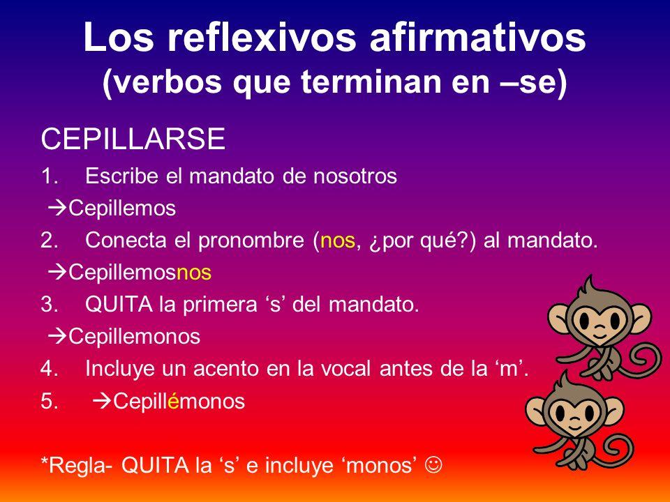 Los reflexivos afirmativos (verbos que terminan en –se)