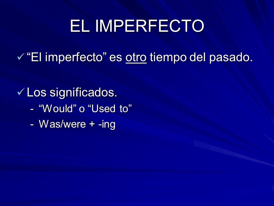 EL IMPERFECTO El imperfecto es otro tiempo del pasado.
