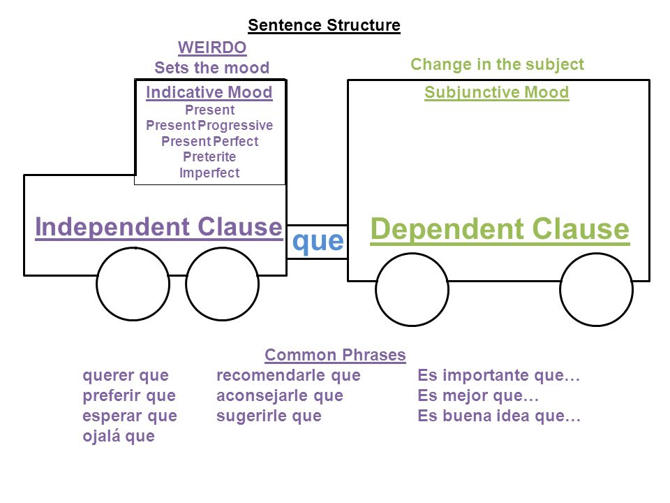 Dependent Clause que Independent Clause Sentence Structure WEIRDO