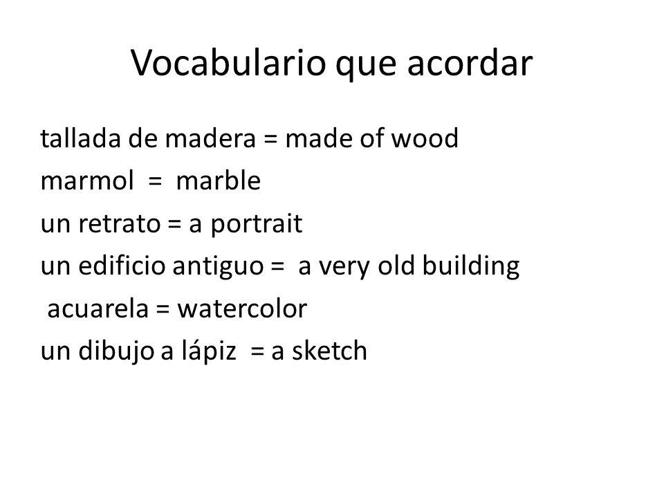 Vocabulario que acordar