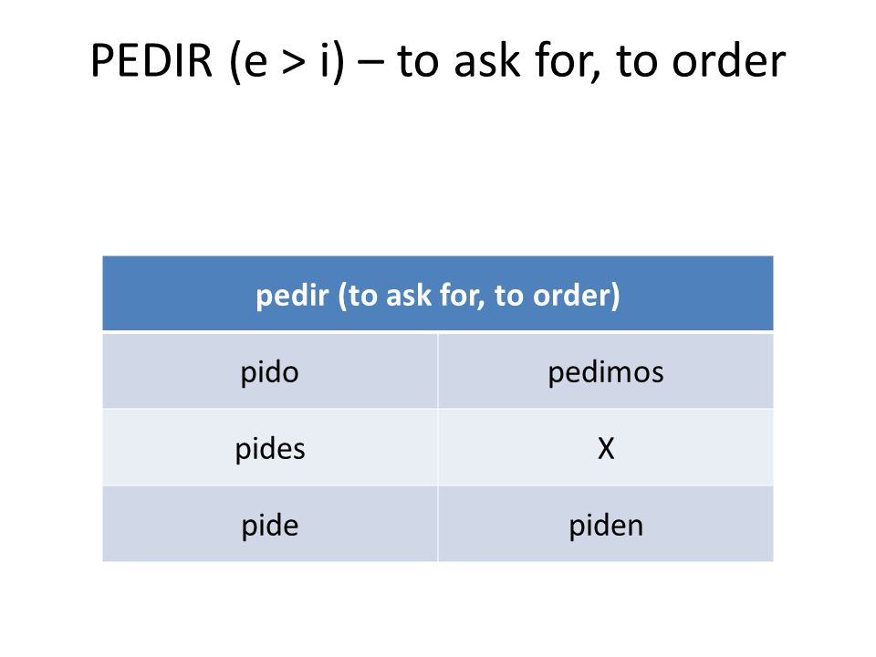 PEDIR (e > i) – to ask for, to order