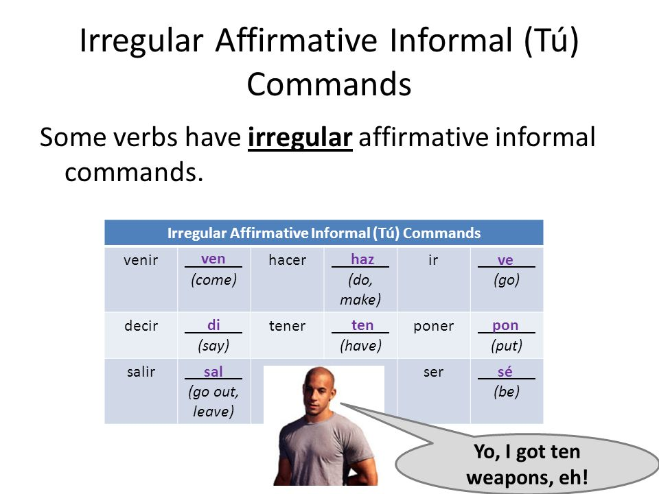 Irregular Affirmative Informal (Tú) Commands