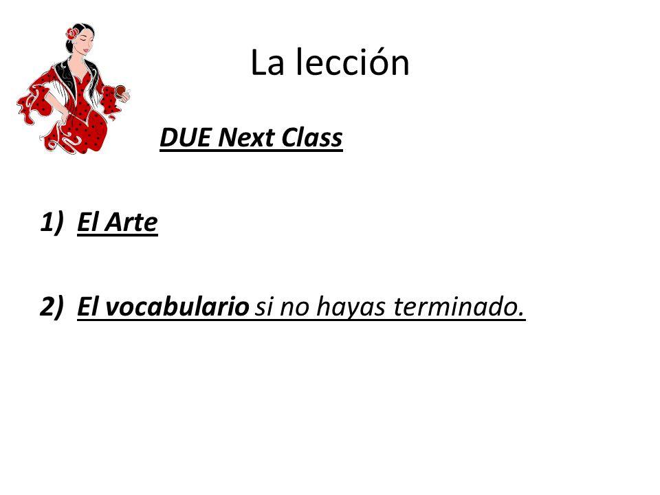 La lección DUE Next Class El Arte