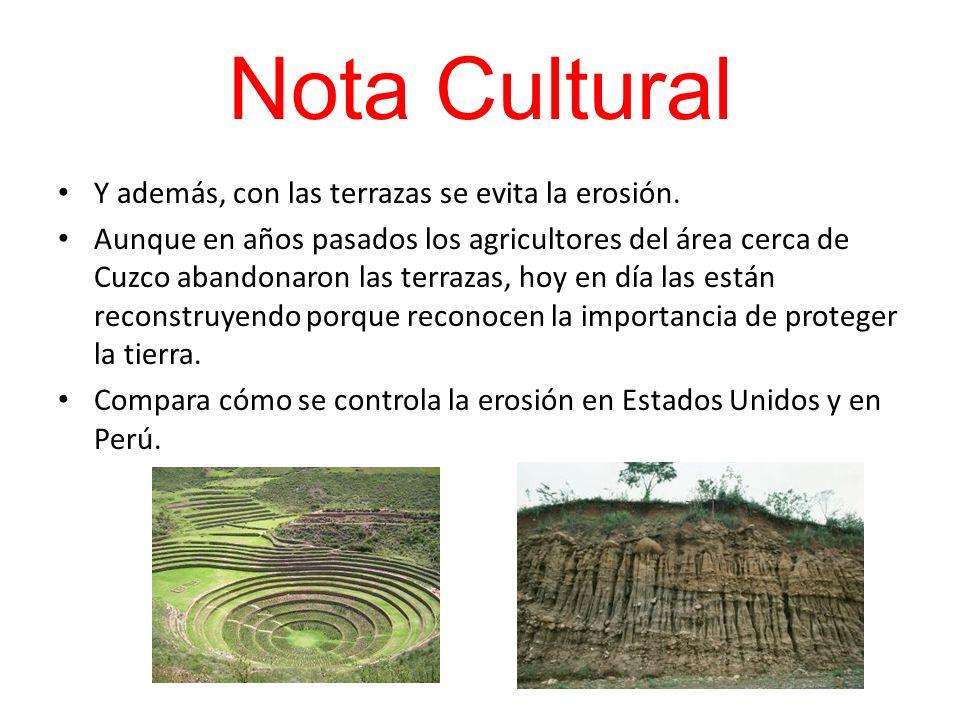 Nota Cultural Y además, con las terrazas se evita la erosión.