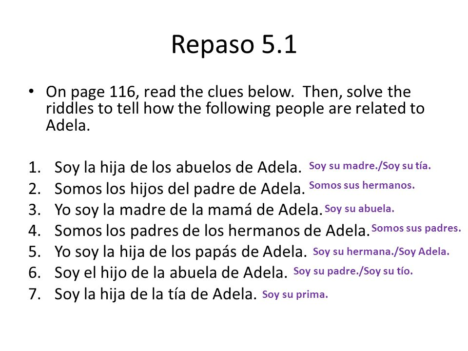 Repaso 5.1 On page 116, read the clues below. Then, solve the riddles to tell how the following people are related to Adela.