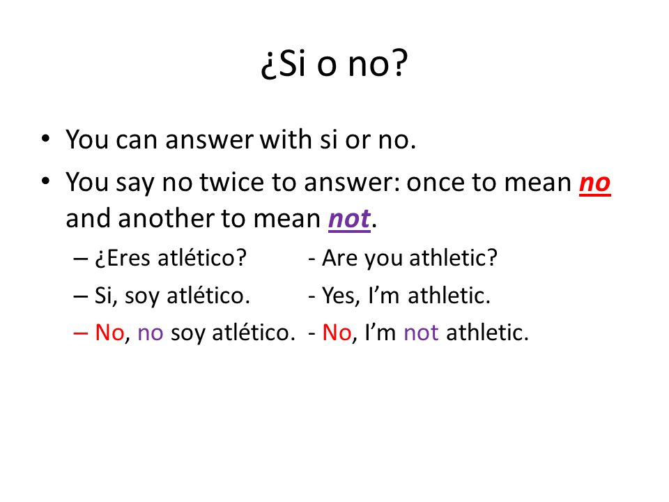 ¿Si o no You can answer with si or no.