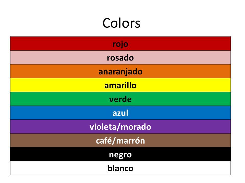 Colors rojo rosado anaranjado amarillo verde azul violeta/morado