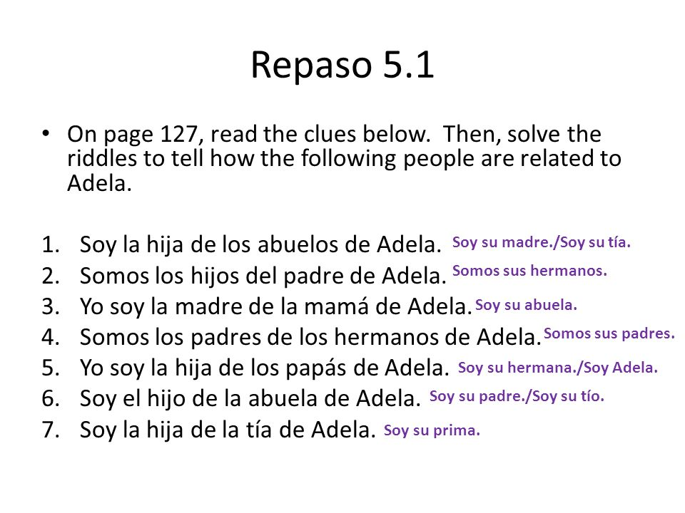 Repaso 5.1On page 127, read the clues below. Then, solve the riddles to tell how the following people are related to Adela.