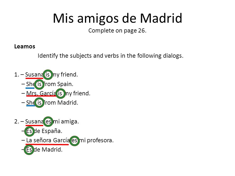 Mis amigos de Madrid Complete on page 26.
