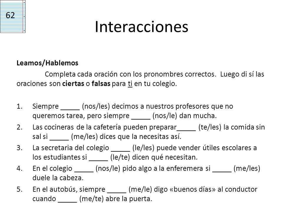 Interacciones 62 Leamos/Hablemos