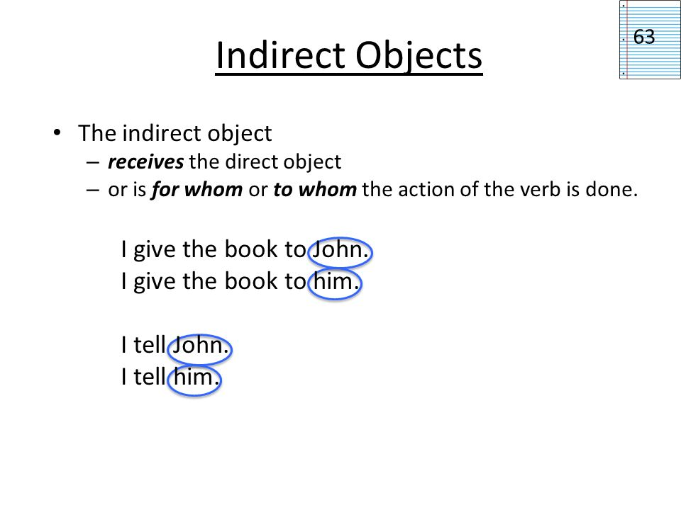 Indirect Objects I give the book to John. I give the book to him.