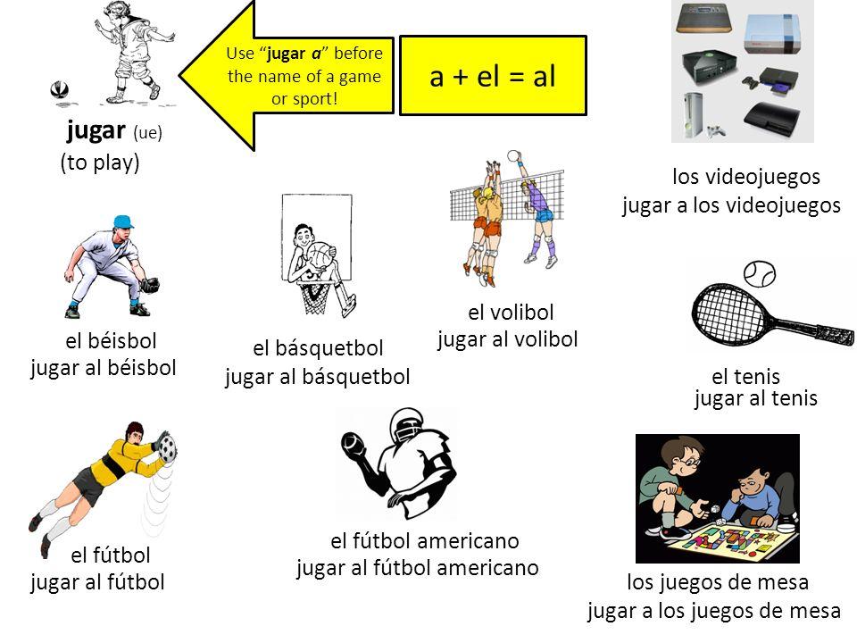 a + el = al jugar (ue) (to play) los videojuegos