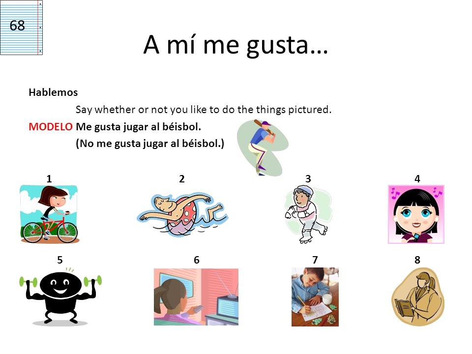 68A mí me gusta… Hablemos Say whether or not you like to do the things pictured. MODELO Me gusta jugar al béisbol. (No me gusta jugar al béisbol.)