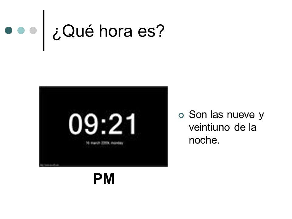 ¿Qué hora es Son las nueve y veintiuno de la noche. PM
