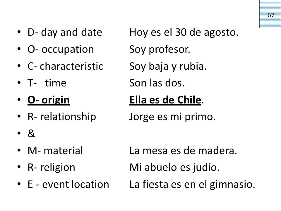 D- day and date Hoy es el 30 de agosto. O- occupation Soy profesor.