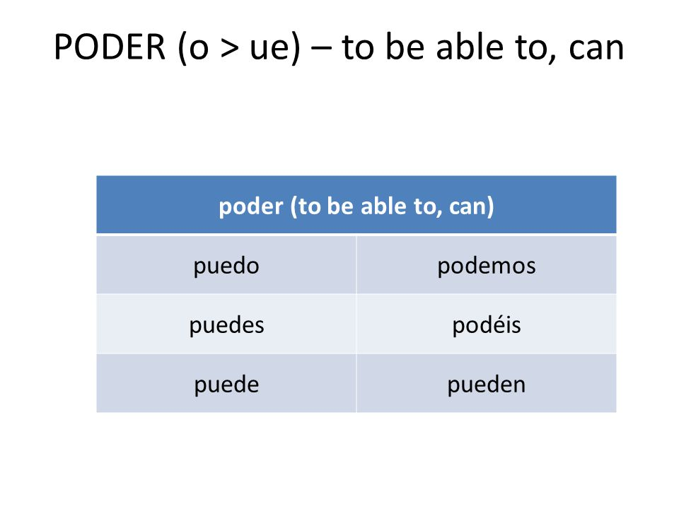 PODER (o > ue) – to be able to, can