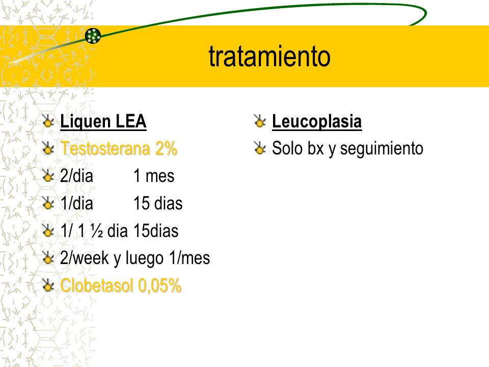 tratamiento Liquen LEA Testosterana 2% 2/dia 1 mes 1/dia 15 dias