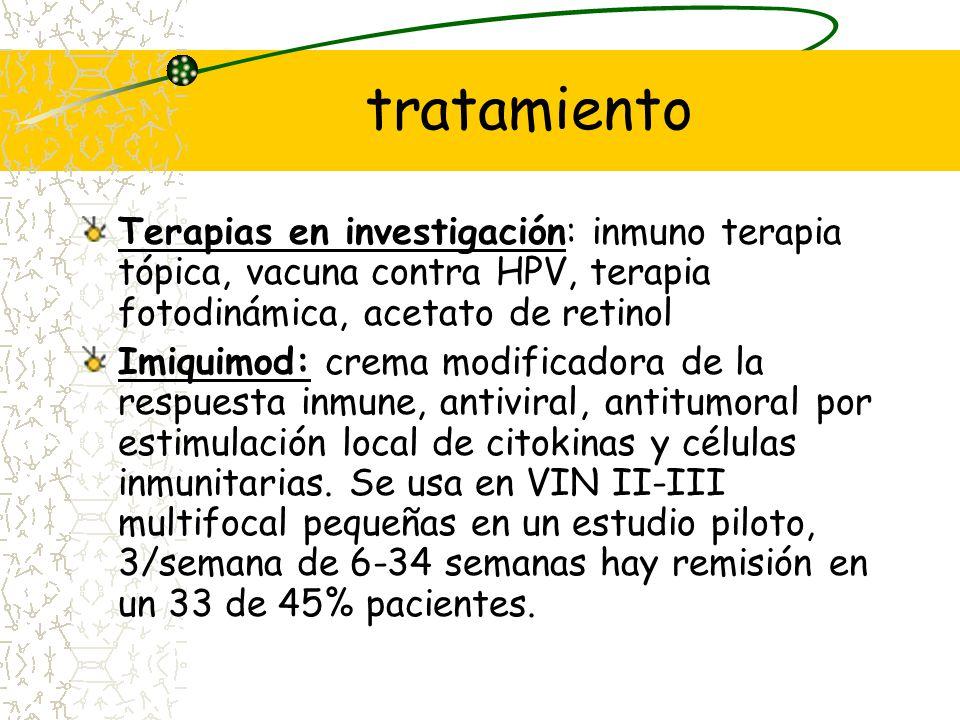 tratamiento Terapias en investigación: inmuno terapia tópica, vacuna contra HPV, terapia fotodinámica, acetato de retinol.