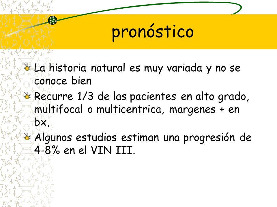 pronóstico La historia natural es muy variada y no se conoce bien