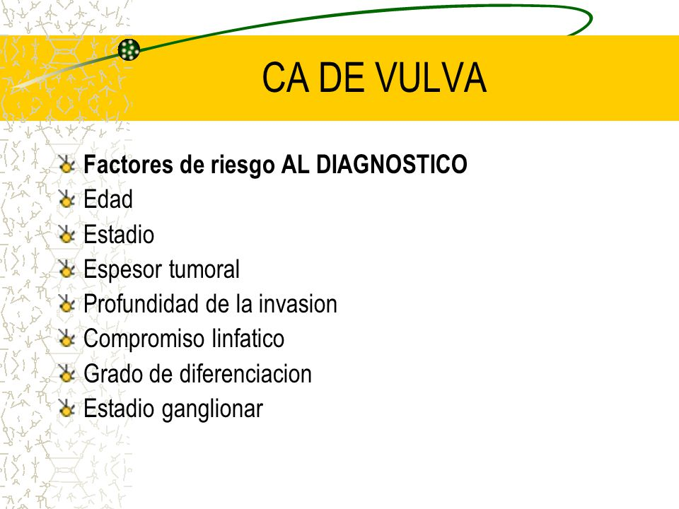 CA DE VULVA Factores de riesgo AL DIAGNOSTICO Edad Estadio