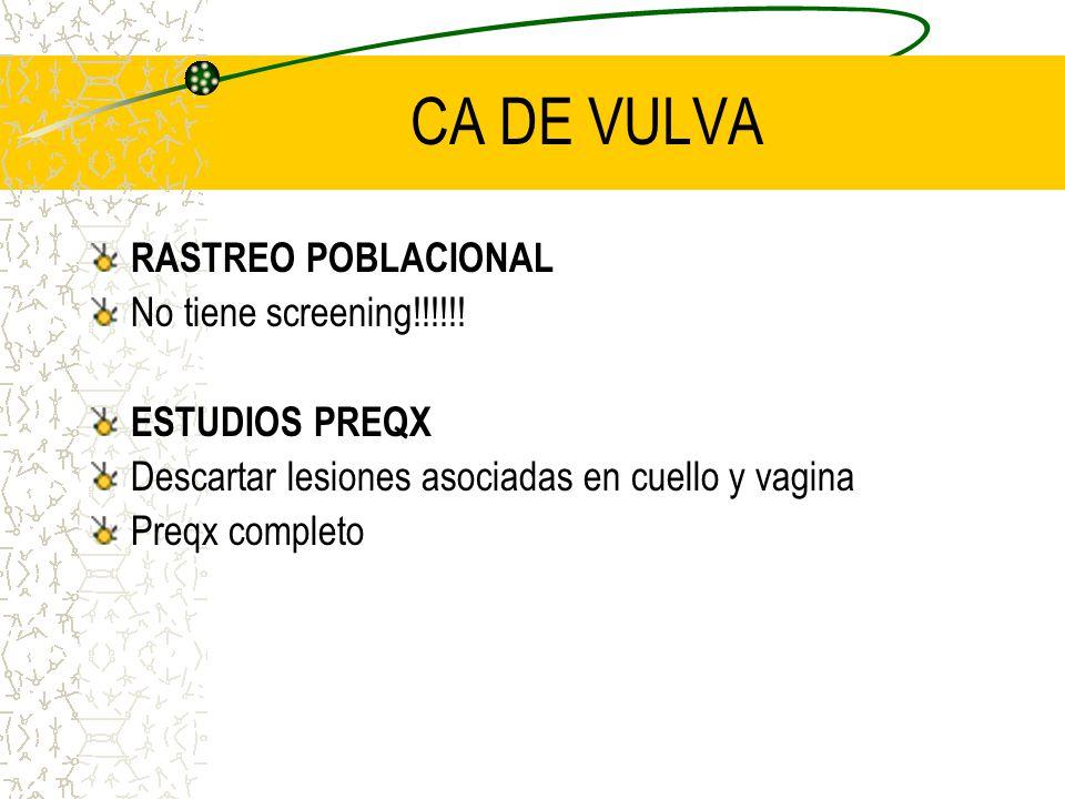 CA DE VULVA RASTREO POBLACIONAL No tiene screening!!!!!!