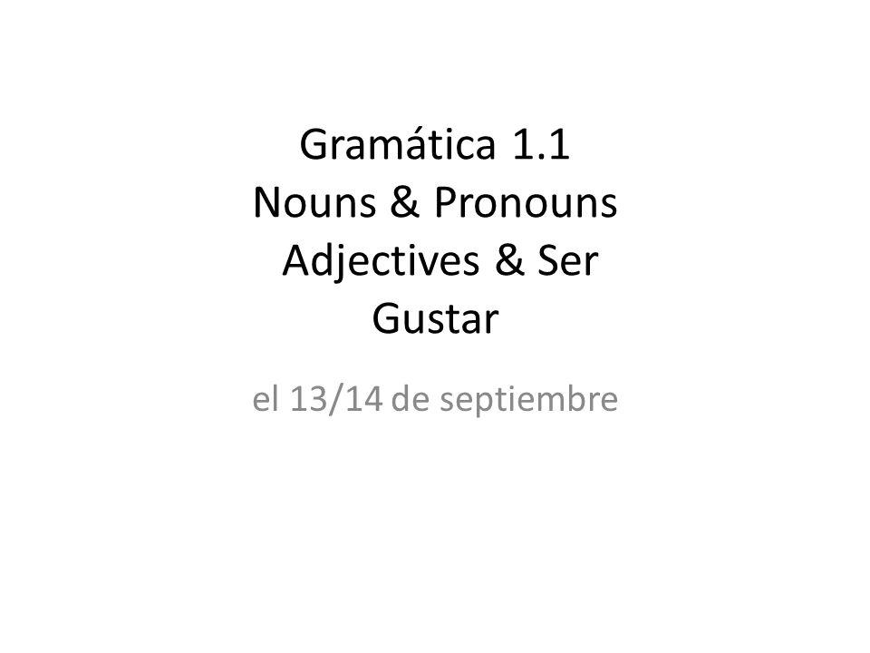 Gramática 1.1 Nouns & Pronouns Adjectives & Ser Gustar