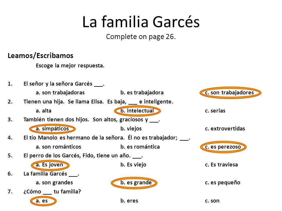 La familia Garcés Complete on page 26.