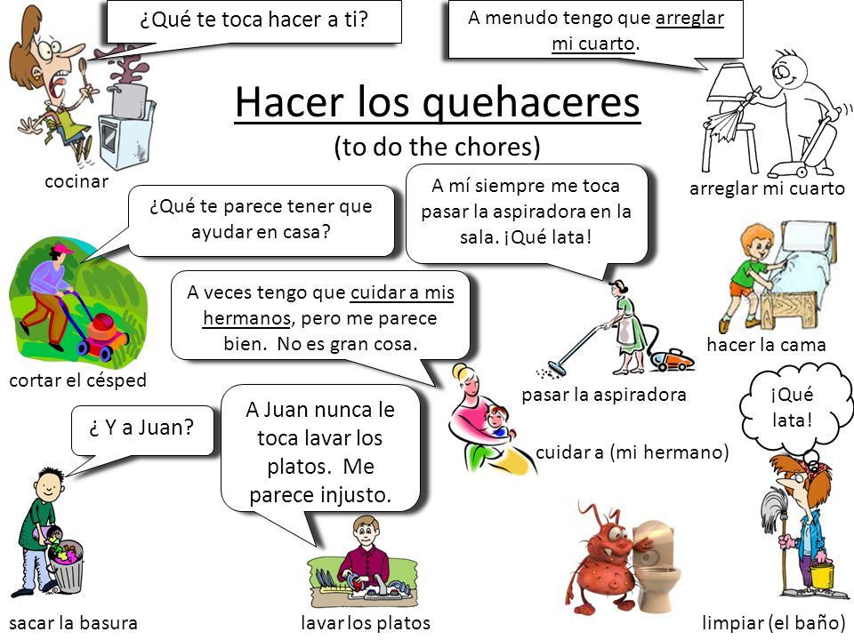 Hacer los quehaceres (to do the chores)