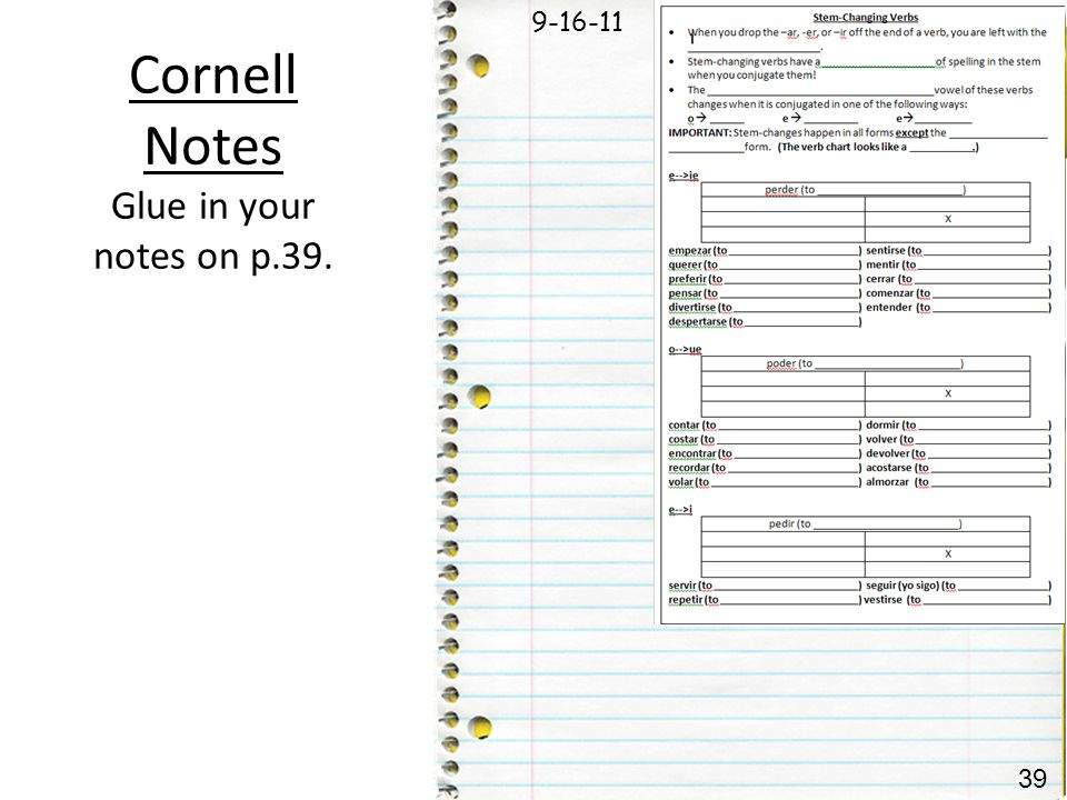 Cornell Notes Glue in your notes on p.39.