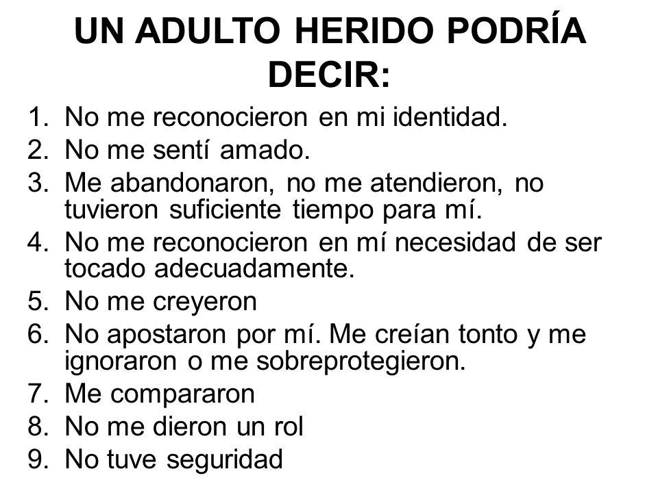 UN ADULTO HERIDO PODRÍA DECIR: