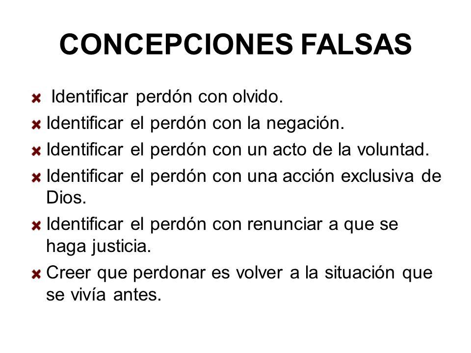 CONCEPCIONES FALSAS Identificar perdón con olvido.