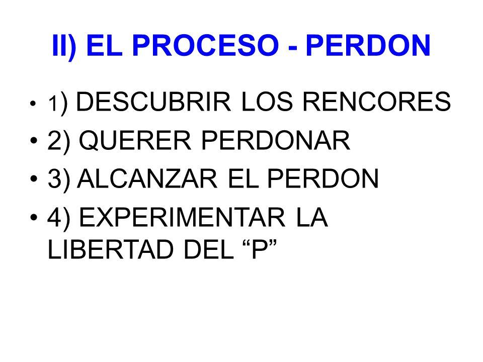 II) EL PROCESO - PERDON 2) QUERER PERDONAR 3) ALCANZAR EL PERDON