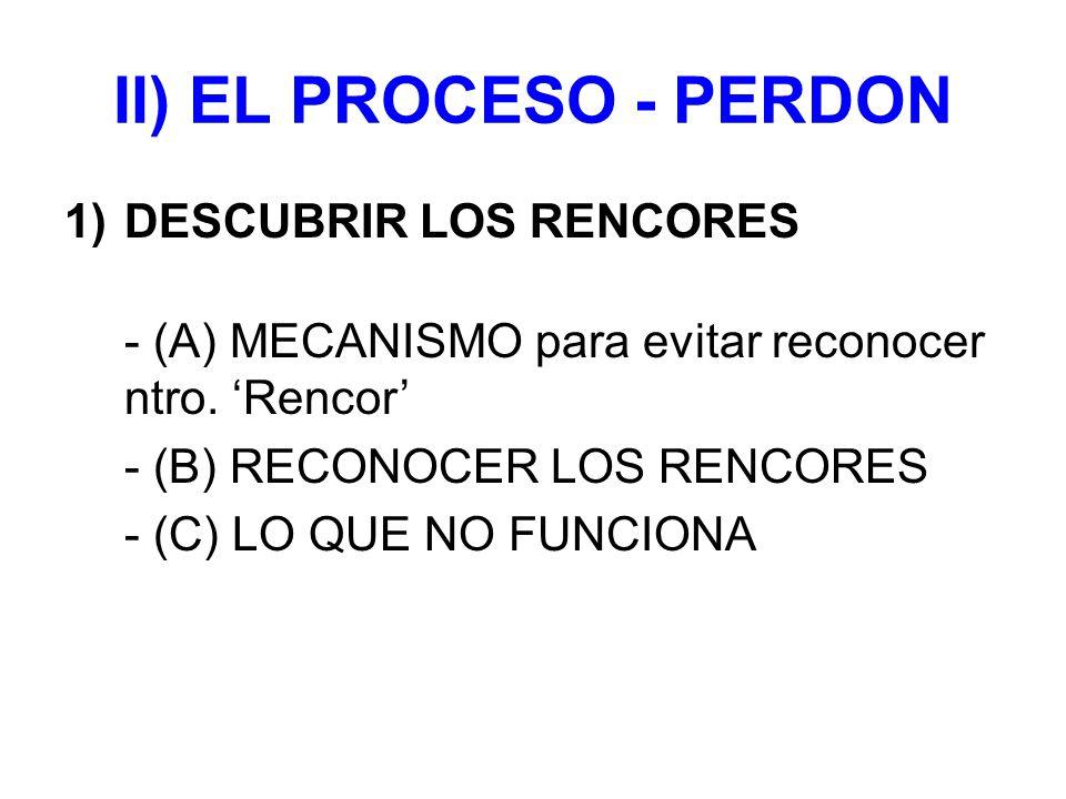 II) EL PROCESO - PERDON DESCUBRIR LOS RENCORES