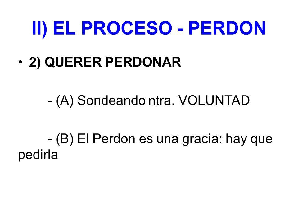 II) EL PROCESO - PERDON 2) QUERER PERDONAR