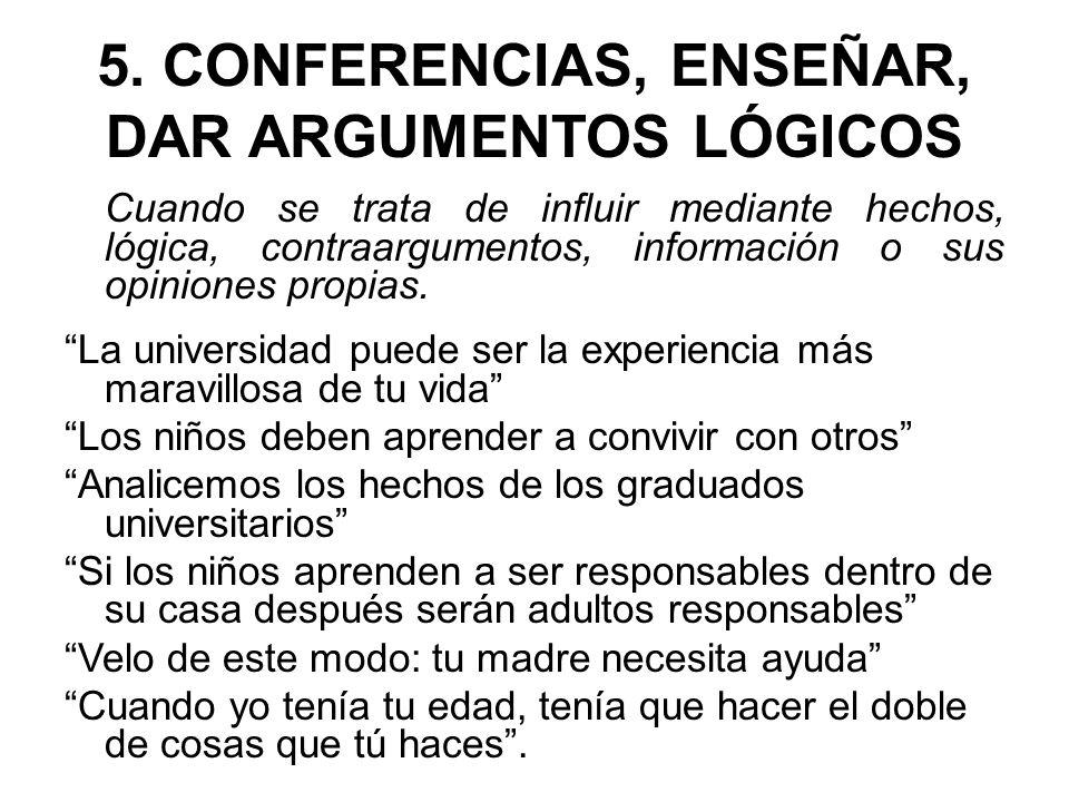 5. CONFERENCIAS, ENSEÑAR, DAR ARGUMENTOS LÓGICOS