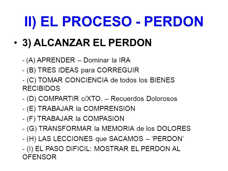 II) EL PROCESO - PERDON 3) ALCANZAR EL PERDON