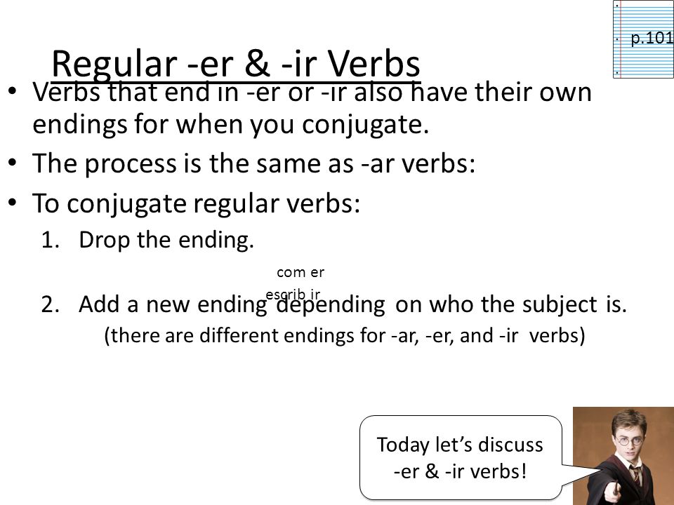 Regular -er & -ir Verbsp.101. Verbs that end in -er or -ir also have their own endings for when you conjugate.