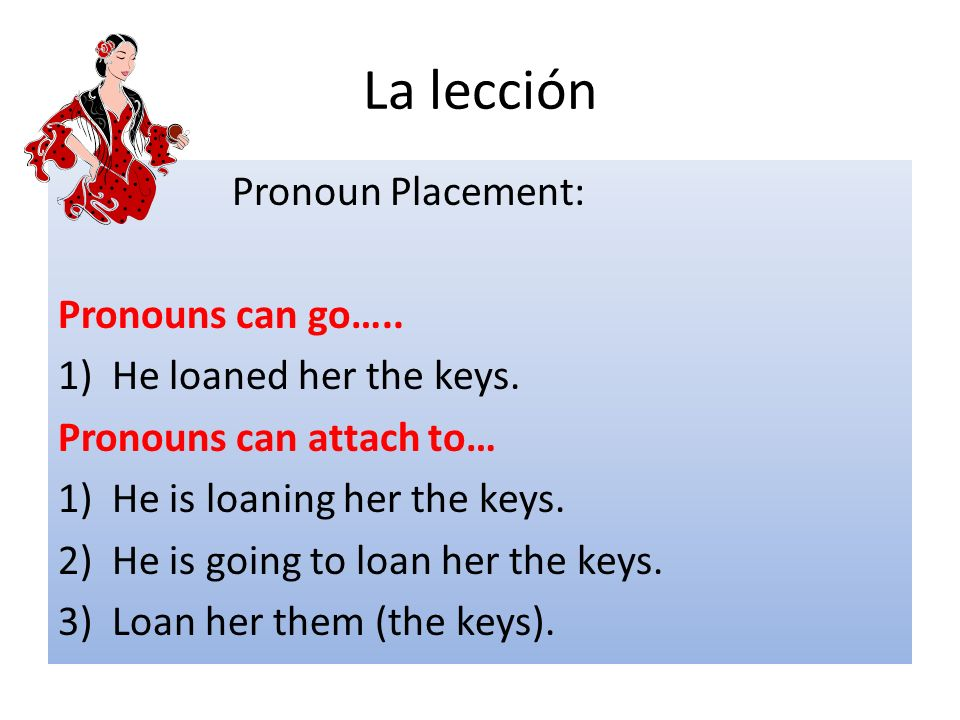 La lección Pronoun Placement: Pronouns can go…..