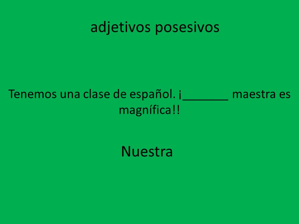 Tenemos una clase de español. ¡_______ maestra es magnífica!!