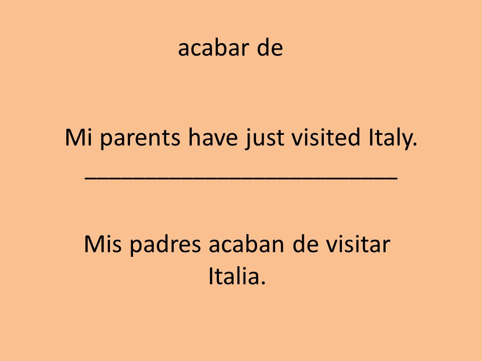 Mi parents have just visited Italy. __________________________