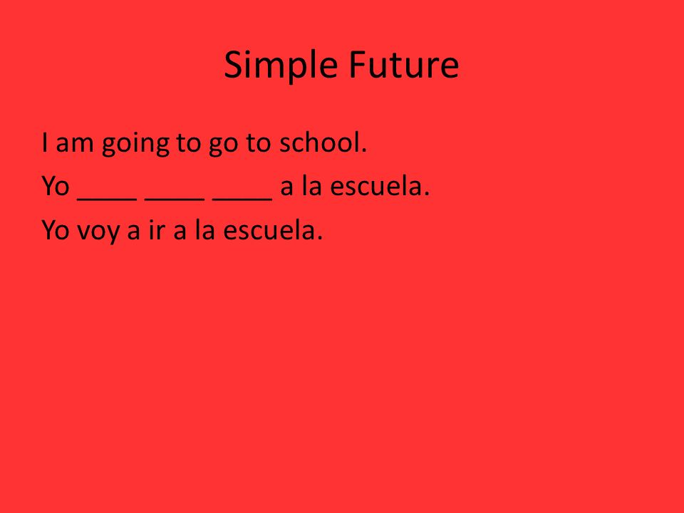 Simple Future I am going to go to school. Yo ____ ____ ____ a la escuela. Yo voy a ir a la escuela.